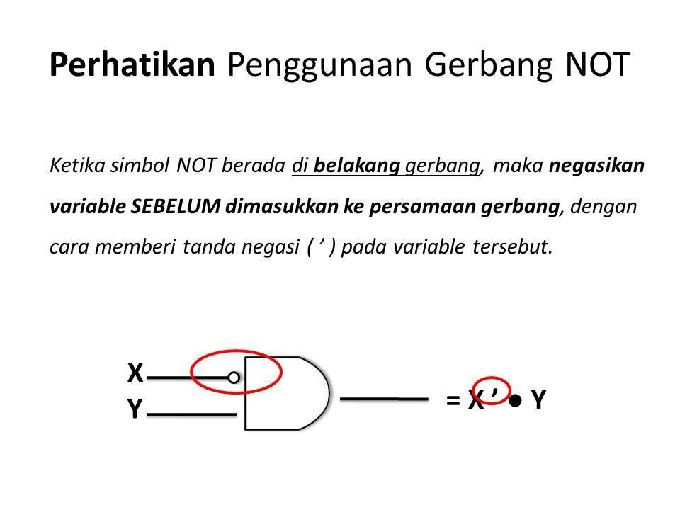 Perhatikan Penggunaan Gerbang NOT = X ' ● Y XYXY Ketika simbol NOT berada di belakang gerbang, maka negasikan variable SEBELUM dimasukkan ke persamaan gerbang, dengan cara memberi tanda negasi ( ' ) pada variable tersebut.