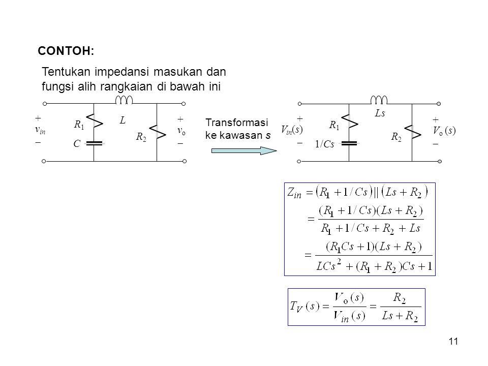 Tentukan impedansi masukan dan fungsi alih rangkaian di bawah ini CONTOH: R 1 R 2 L C + v in  + v o  Transformasi ke kawasan s R 1 R 2 Ls 1/Cs + V i