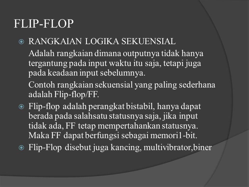 FLIP-FLOP  RANGKAIAN LOGIKA SEKUENSIAL Adalah rangkaian dimana outputnya tidak hanya tergantung pada input waktu itu saja, tetapi juga pada keadaan i