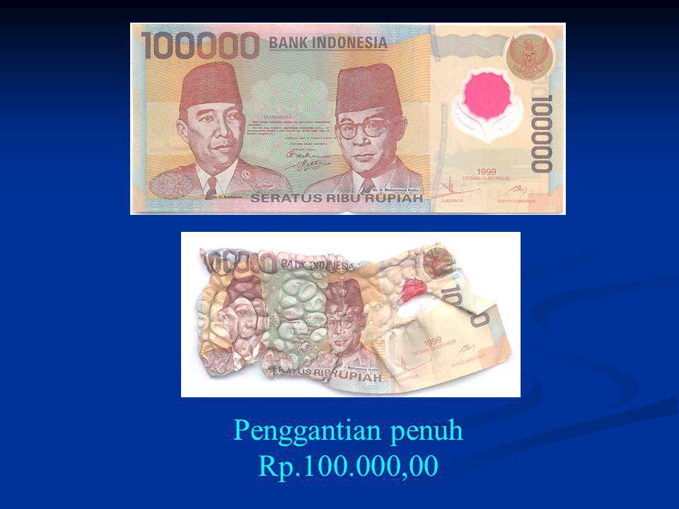 Penggantian penuh Rp.100.000,00