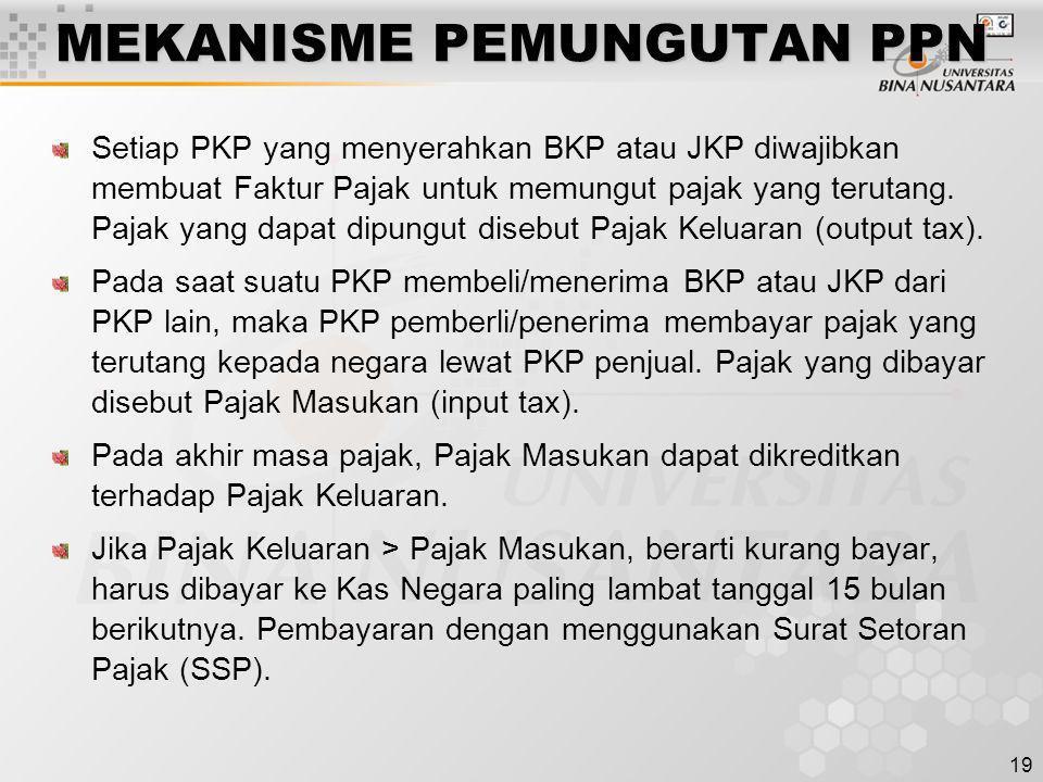 19 MEKANISME PEMUNGUTAN PPN Setiap PKP yang menyerahkan BKP atau JKP diwajibkan membuat Faktur Pajak untuk memungut pajak yang terutang. Pajak yang da