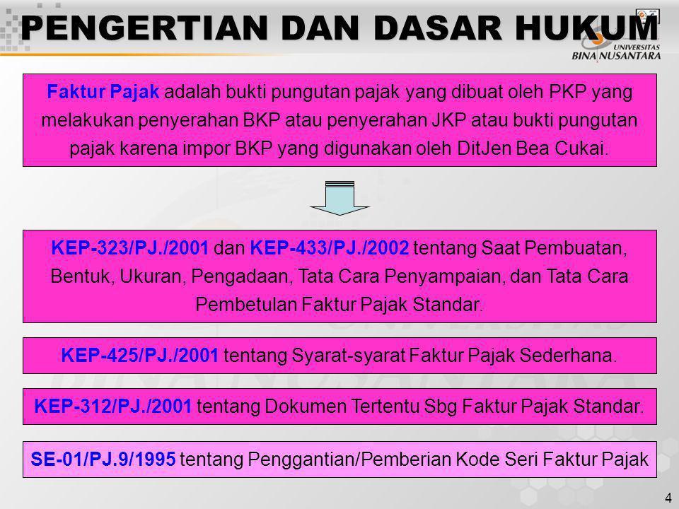 4 PENGERTIAN DAN DASAR HUKUM KEP-323/PJ./2001 dan KEP-433/PJ./2002 tentang Saat Pembuatan, Bentuk, Ukuran, Pengadaan, Tata Cara Penyampaian, dan Tata