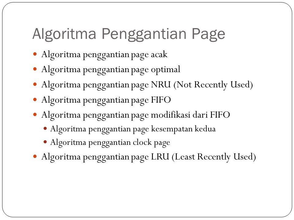 Algoritma Penggantian Page Algoritma penggantian page acak Algoritma penggantian page optimal Algoritma penggantian page NRU (Not Recently Used) Algoritma penggantian page FIFO Algoritma penggantian page modifikasi dari FIFO Algoritma penggantian page kesempatan kedua Algoritma penggantian clock page Algoritma penggantian page LRU (Least Recently Used)