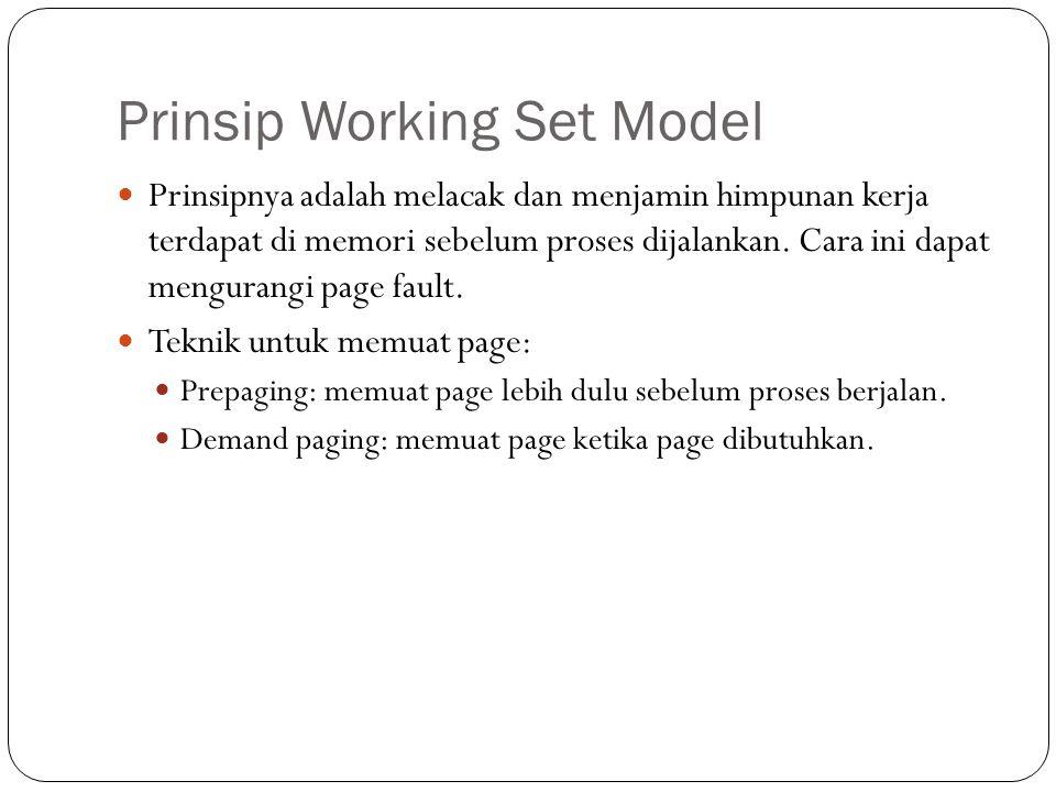 Prinsip Working Set Model Prinsipnya adalah melacak dan menjamin himpunan kerja terdapat di memori sebelum proses dijalankan.