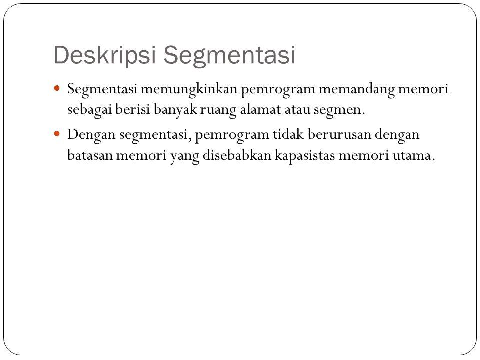 Deskripsi Segmentasi Segmentasi memungkinkan pemrogram memandang memori sebagai berisi banyak ruang alamat atau segmen.