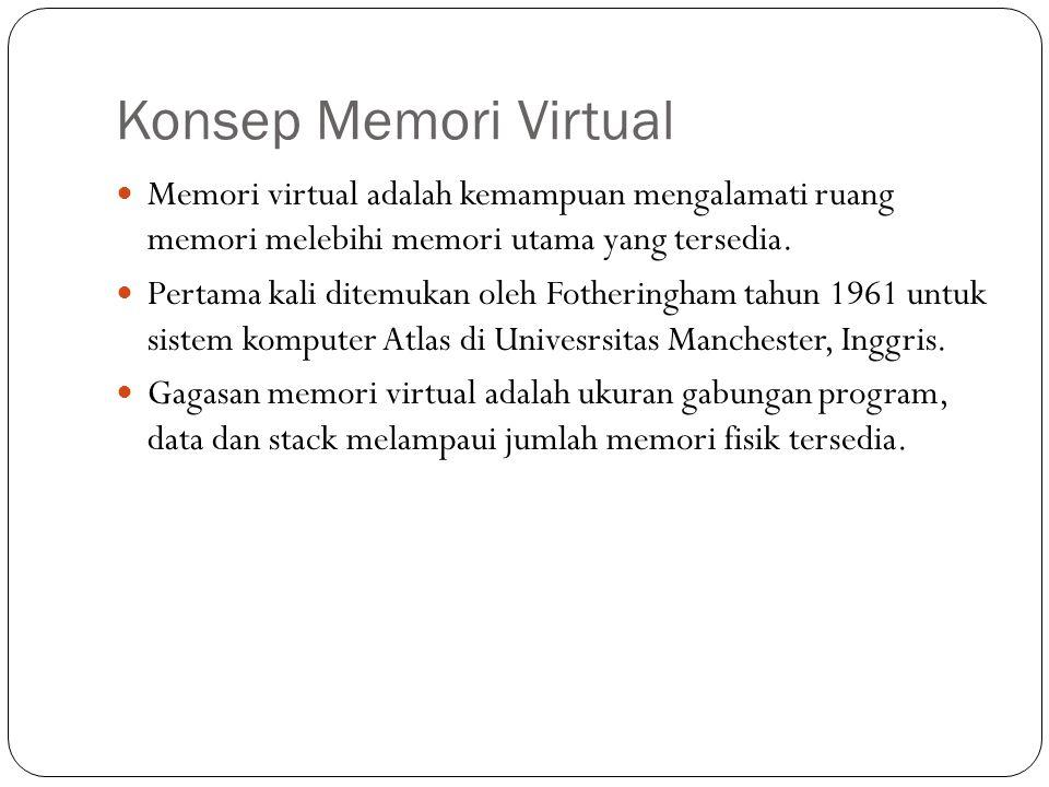 Konsep Memori Virtual Memori virtual adalah kemampuan mengalamati ruang memori melebihi memori utama yang tersedia.