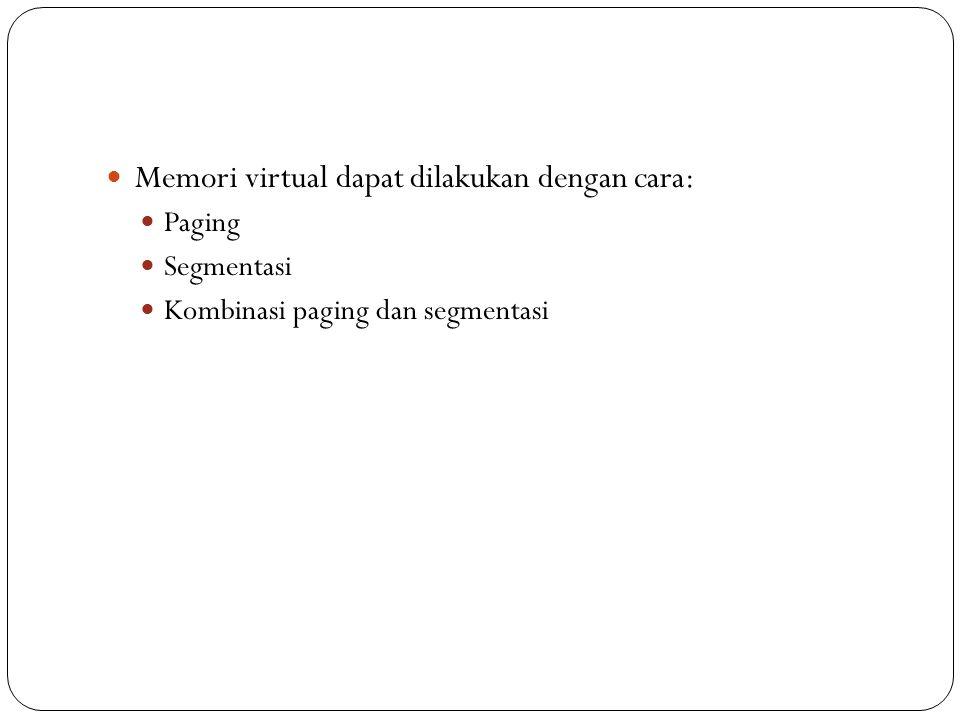 Memori virtual dapat dilakukan dengan cara: Paging Segmentasi Kombinasi paging dan segmentasi