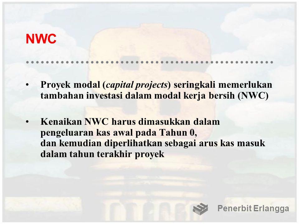 NWC Proyek modal (capital projects) seringkali memerlukan tambahan investasi dalam modal kerja bersih (NWC) Kenaikan NWC harus dimasukkan dalam pengeluaran kas awal pada Tahun 0, dan kemudian diperlihatkan sebagai arus kas masuk dalam tahun terakhir proyek Penerbit Erlangga