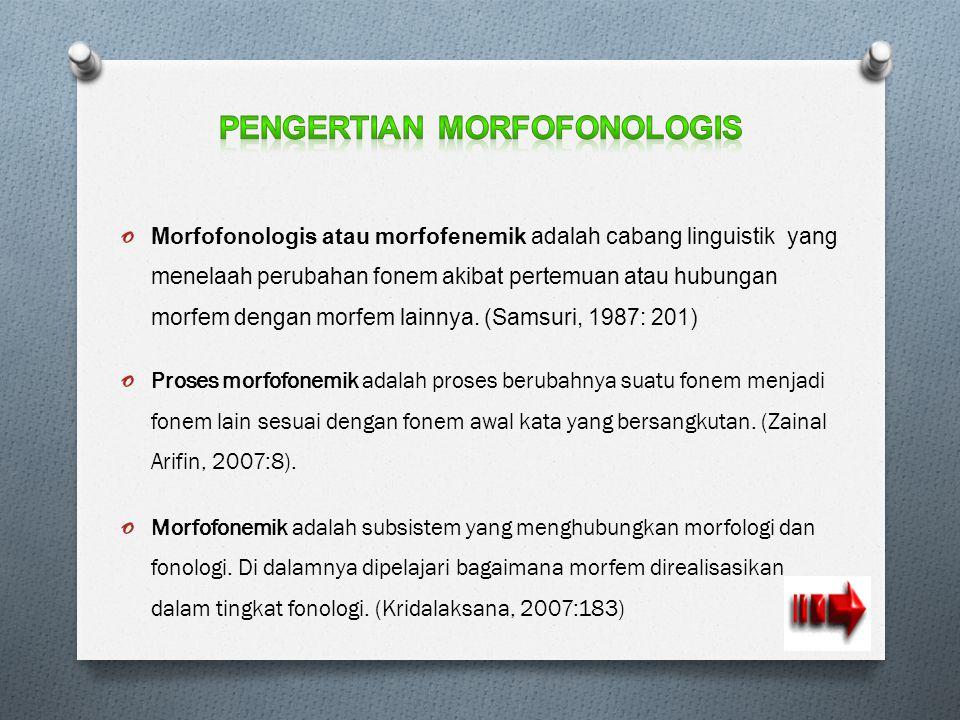 o Morfofonologis atau morfofenemik adalah cabang linguistik yang menelaah perubahan fonem akibat pertemuan atau hubungan morfem dengan morfem lainnya.