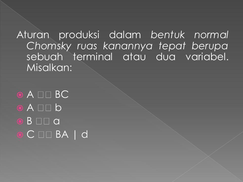 Aturan produksi dalam bentuk normal Chomsky ruas kanannya tepat berupa sebuah terminal atau dua variabel.