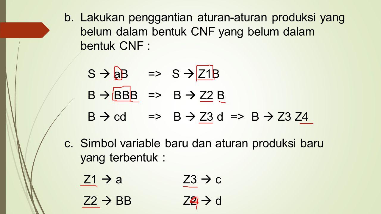 b.Lakukan penggantian aturan-aturan produksi yang belum dalam bentuk CNF yang belum dalam bentuk CNF : S  aB => S  Z1B B  BBB => B  Z2 B B  cd =>
