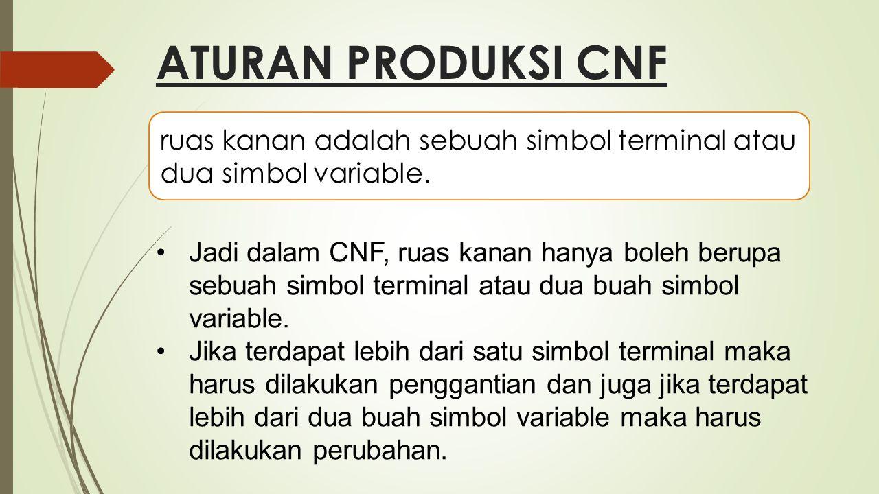 ATURAN PRODUKSI CNF ruas kanan adalah sebuah simbol terminal atau dua simbol variable. Jadi dalam CNF, ruas kanan hanya boleh berupa sebuah simbol ter