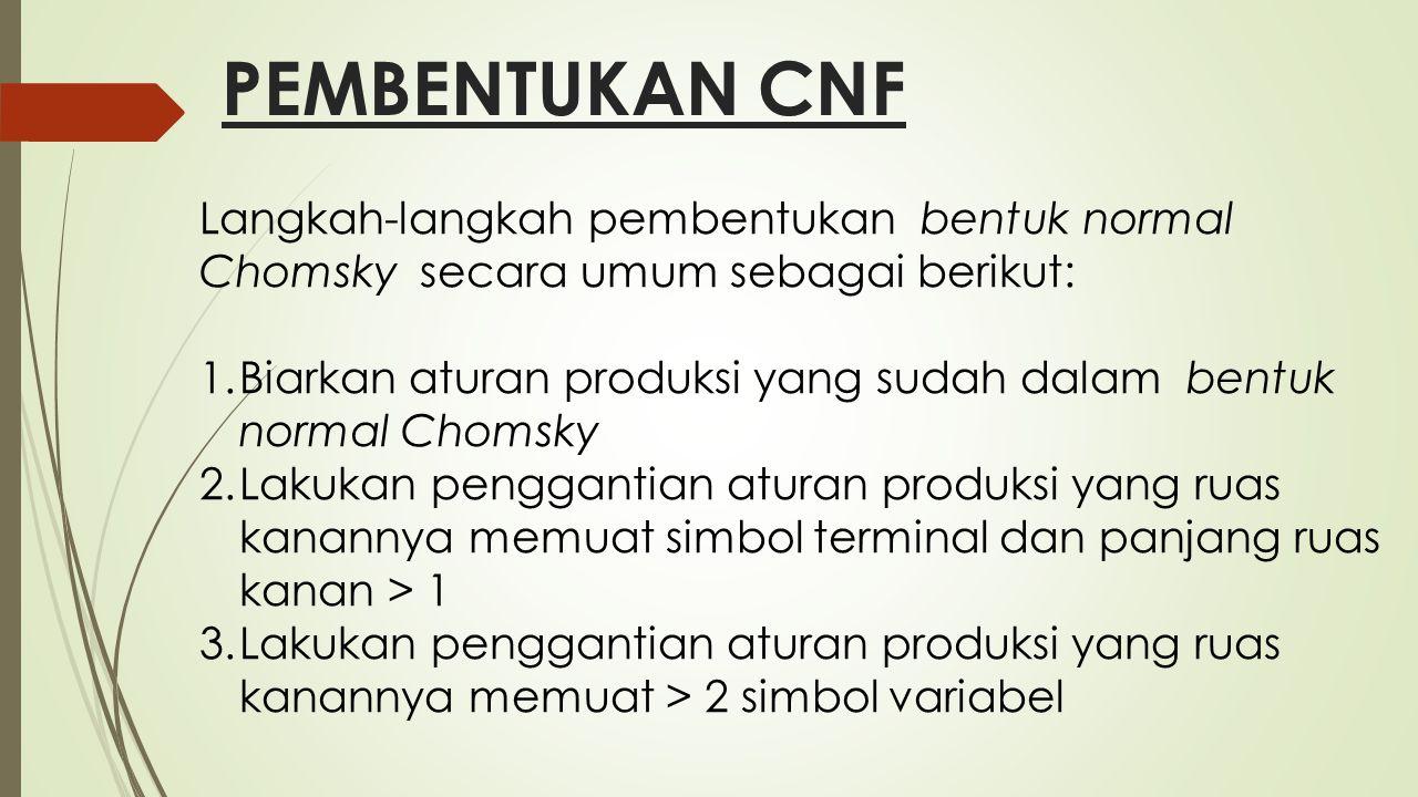 PEMBENTUKAN CNF Langkah-langkah pembentukan bentuk normal Chomsky secara umum sebagai berikut: 1.Biarkan aturan produksi yang sudah dalam bentuk norma