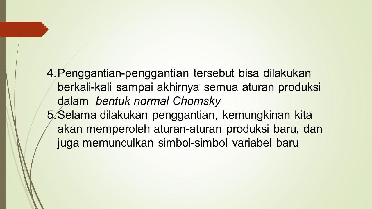 4.Penggantian-penggantian tersebut bisa dilakukan berkali-kali sampai akhirnya semua aturan produksi dalam bentuk normal Chomsky 5.Selama dilakukan pe