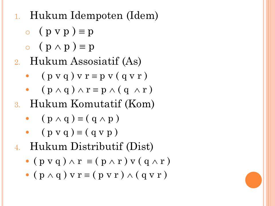 5.Hukum Identitas (Id) o p v F  p o p v T  T o p  F  F o p  T  p 6.