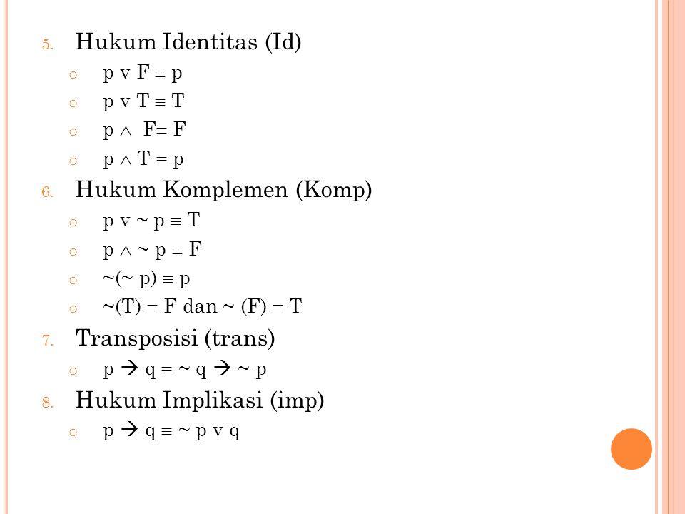 9.Hukum Ekivalensi (Eki) p  q  ( p  q )  ( q  p ) p  q  ( p  q ) v ( ~ p  ~ q ) 10.