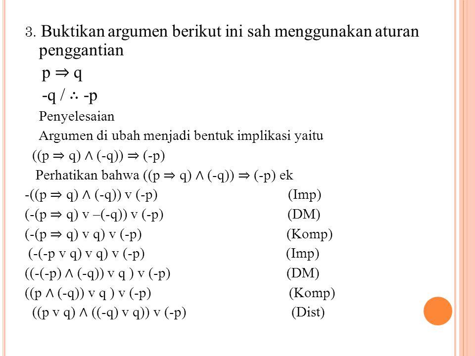 ((p v q) ∧ T ) v (-p)(Komp) (pv q) v (-p) (ident) p v (q v (–p)) (Ass) p v ((-p) v q) (Kom) (p v (-p)) v q (Ass) T v q (komp) T (Ident) Jadi argumen sah.