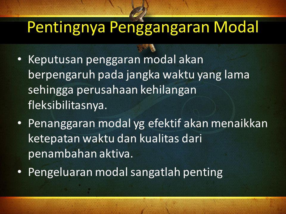 Motif Capital Budgeting Pengembangan produk baru atau pembelian aktiva baru Pengurangan biaya dengan mengganti aktiva yang tidak efisien Modernisasi atas aktiva tetap