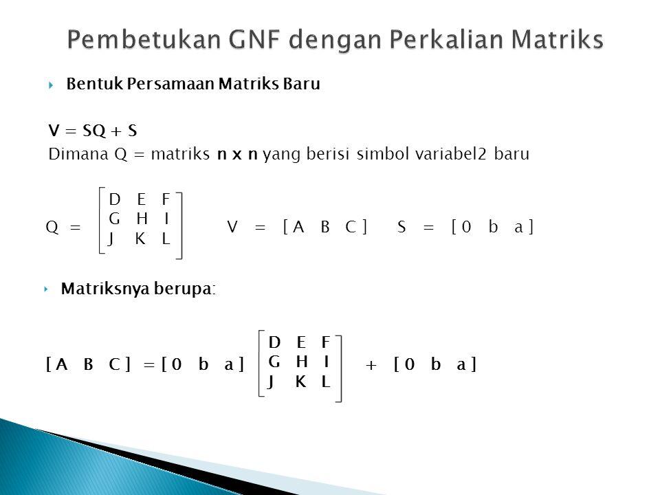  Bentuk Persamaan Matriks Baru V = SQ + S Dimana Q = matriks n x n yang berisi simbol variabel2 baru Q = D E F G H I J K L ‣ Matriksnya berupa: [ A B