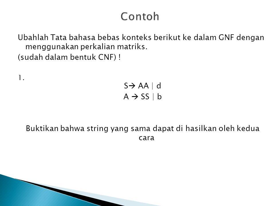 Ubahlah Tata bahasa bebas konteks berikut ke dalam GNF dengan menggunakan perkalian matriks. (sudah dalam bentuk CNF) ! 1. S  AA | d A  SS | b Bukti