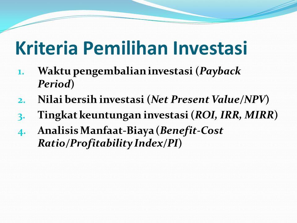 Kriteria Pemilihan Investasi 1.Waktu pengembalian investasi (Payback Period) 2.