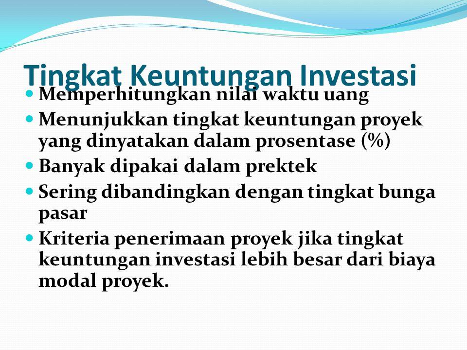 Tingkat Keuntungan Investasi Memperhitungkan nilai waktu uang Menunjukkan tingkat keuntungan proyek yang dinyatakan dalam prosentase (%) Banyak dipakai dalam prektek Sering dibandingkan dengan tingkat bunga pasar Kriteria penerimaan proyek jika tingkat keuntungan investasi lebih besar dari biaya modal proyek.