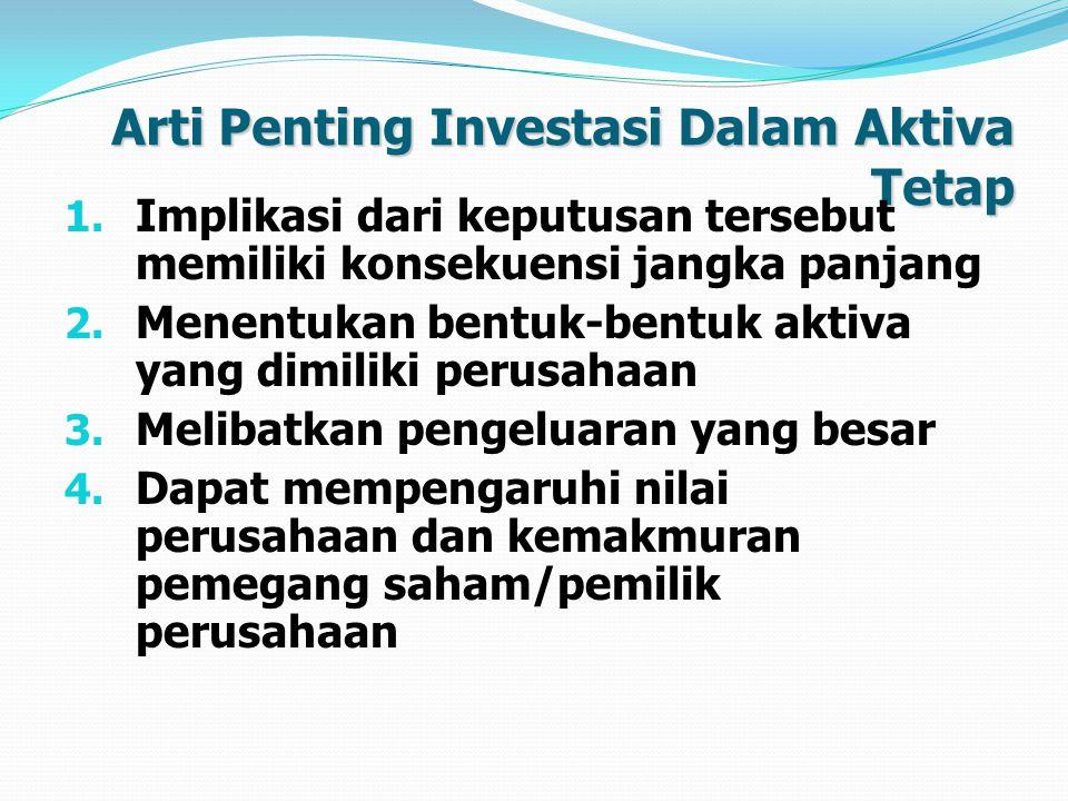 Arti Penting Investasi Dalam Aktiva Tetap 1.