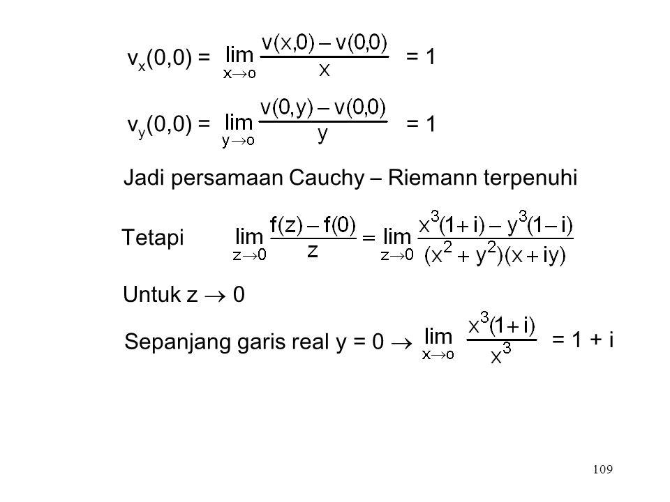 109 v x (0,0) = = 1 v y (0,0) = = 1 Jadi persamaan Cauchy – Riemann terpenuhi Tetapi Untuk z  0 Sepanjang garis real y = 0  = 1 + i