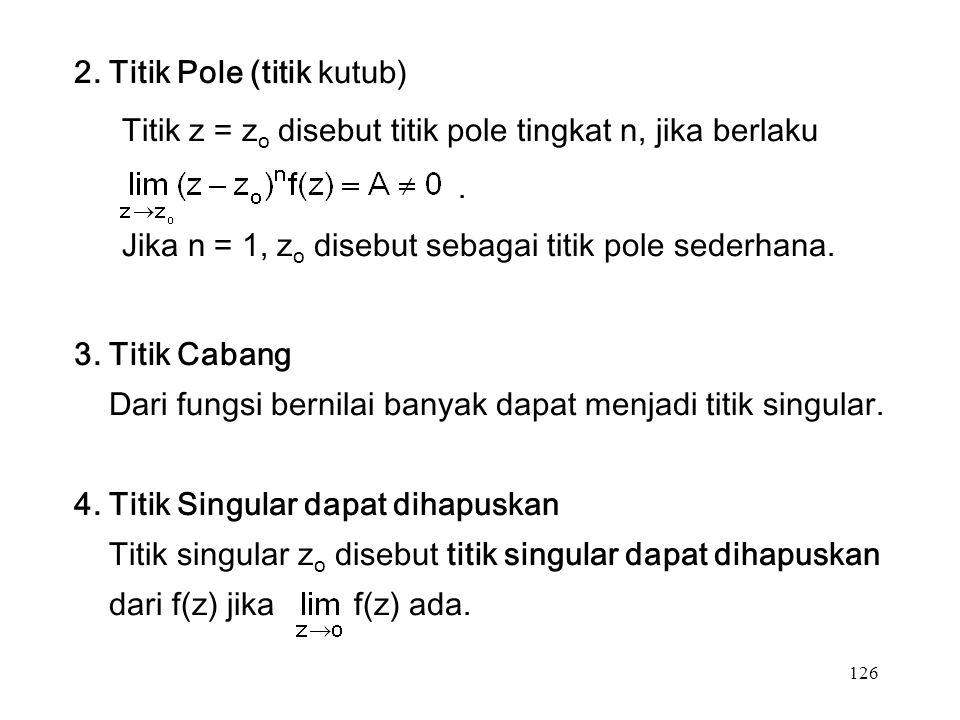 126 2. Titik Pole (titik kutub) Titik z = z o disebut titik pole tingkat n, jika berlaku.