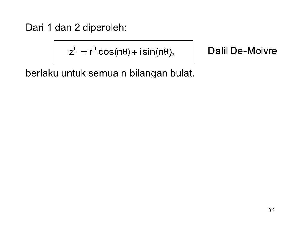 36 Dari 1 dan 2 diperoleh:, Dalil De-Moivre berlaku untuk semua n bilangan bulat.
