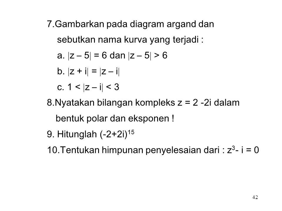 42 7.Gambarkan pada diagram argand dan sebutkan nama kurva yang terjadi : a.