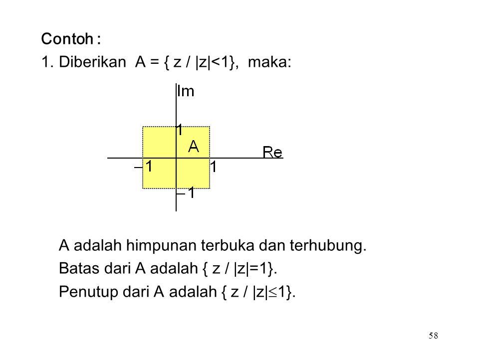 58 Contoh : 1.Diberikan A = { z / |z|<1}, maka: A adalah himpunan terbuka dan terhubung.