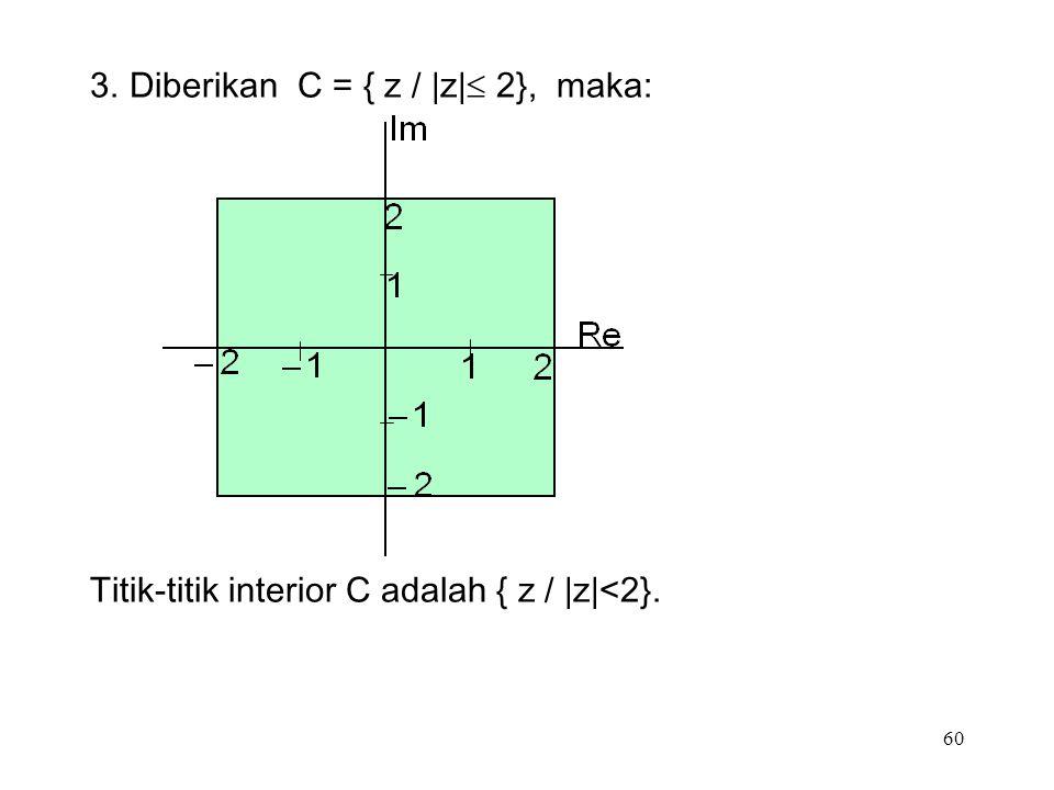 60 3.Diberikan C = { z / |z|  2}, maka: Titik-titik interior C adalah { z / |z|<2}.