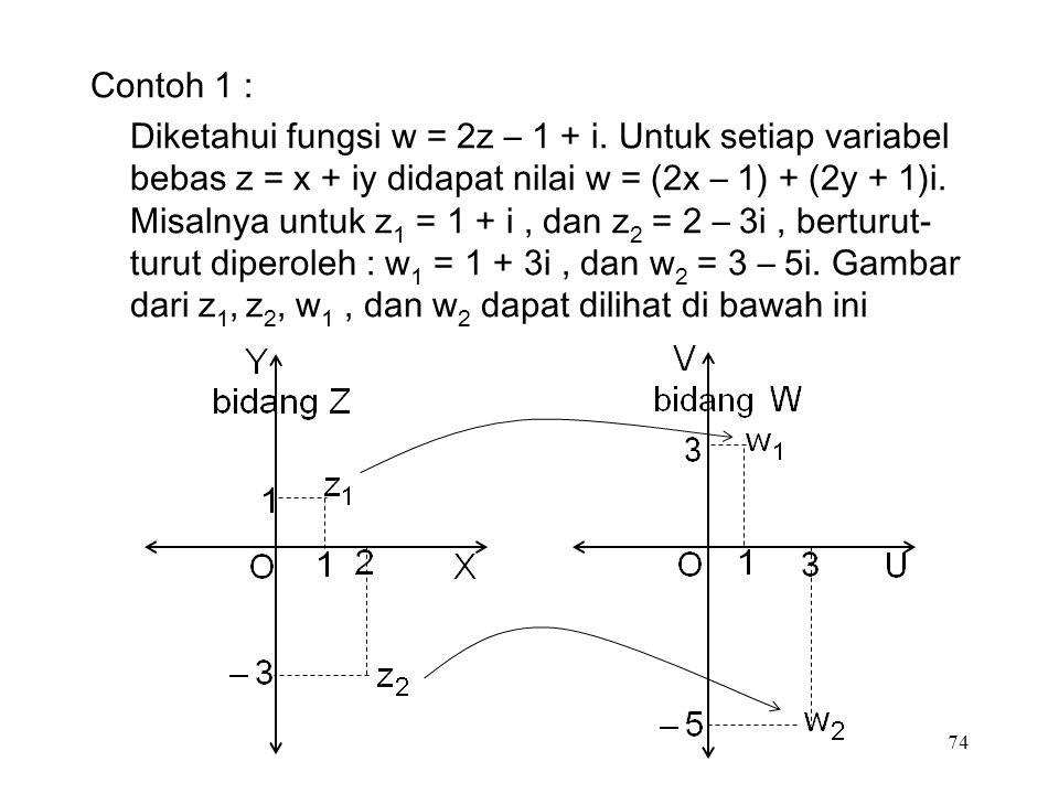 74 Contoh 1 : Diketahui fungsi w = 2z – 1 + i.