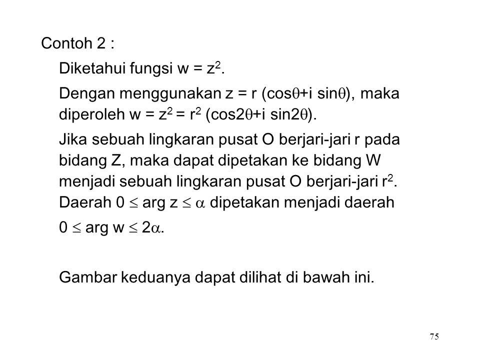 75 Contoh 2 : Diketahui fungsi w = z 2.