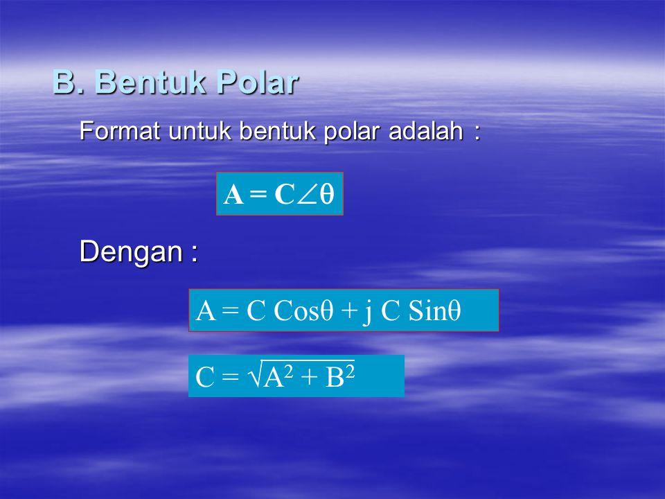 B. Bentuk Polar Format untuk bentuk polar adalah : Dengan : A = C  C = √A 2 + B 2 A = C Cosθ + j C Sinθ