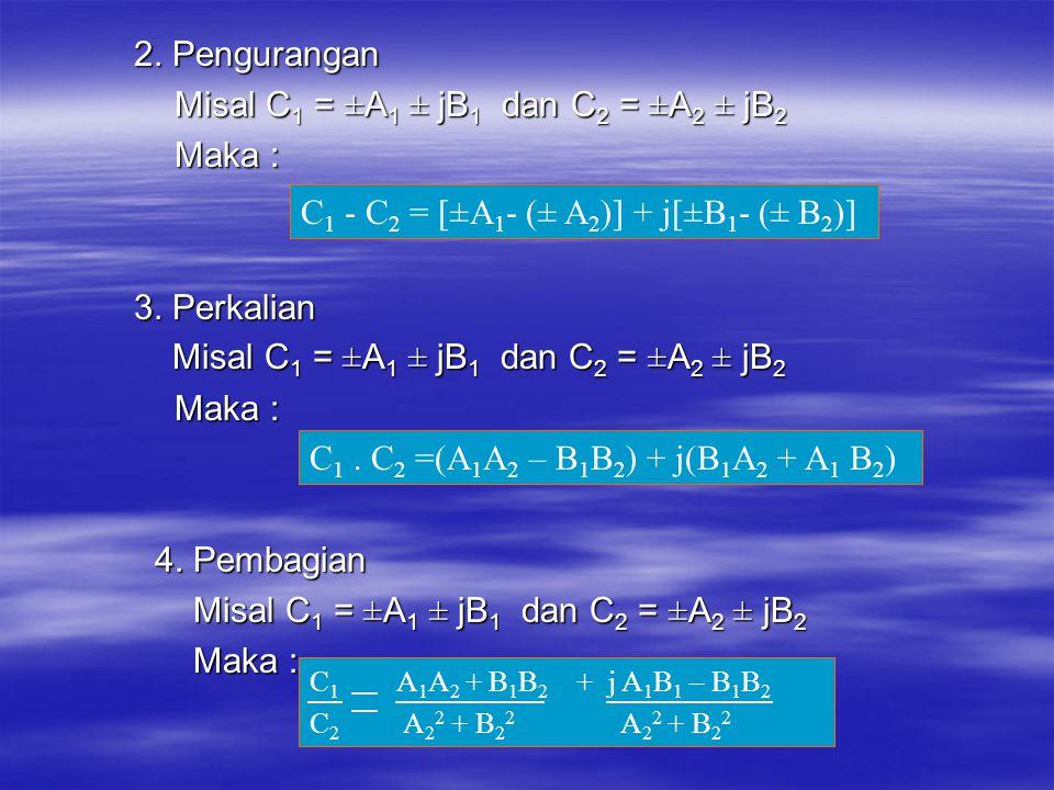 2. Pengurangan Misal C 1 = ±A 1 ± jB 1 dan C 2 = ±A 2 ± jB 2 Misal C 1 = ±A 1 ± jB 1 dan C 2 = ±A 2 ± jB 2 Maka : Maka : 3. Perkalian Misal C 1 = ±A 1