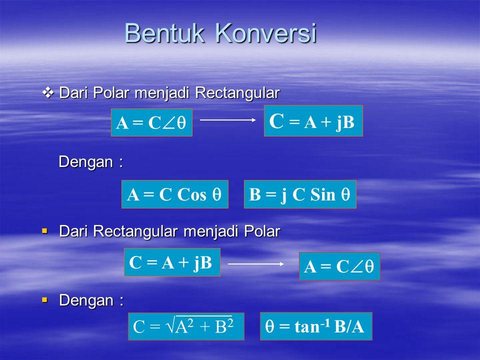 Bentuk Konversi  Dari Polar menjadi Rectangular Dengan : Dengan :  Dari Rectangular menjadi Polar  Dengan : A = C  C = A + jB A = C Cos  B = j C