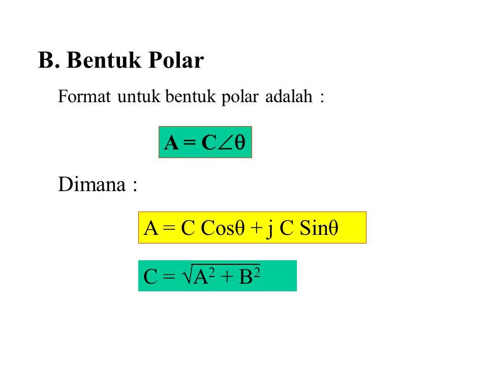 B. Bentuk Polar Format untuk bentuk polar adalah : Dimana : A = C  C = √A 2 + B 2 A = C Cosθ + j C Sinθ