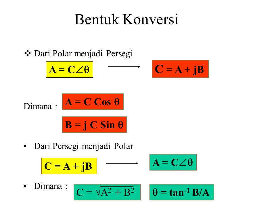 Bentuk Konversi  Dari Polar menjadi Persegi Dimana : Dari Persegi menjadi Polar Dimana : A = C  C = A + jB A = C Cos  B = j C Sin  C = A + jB A = C  C = √A 2 + B 2  = tan -1 B/A