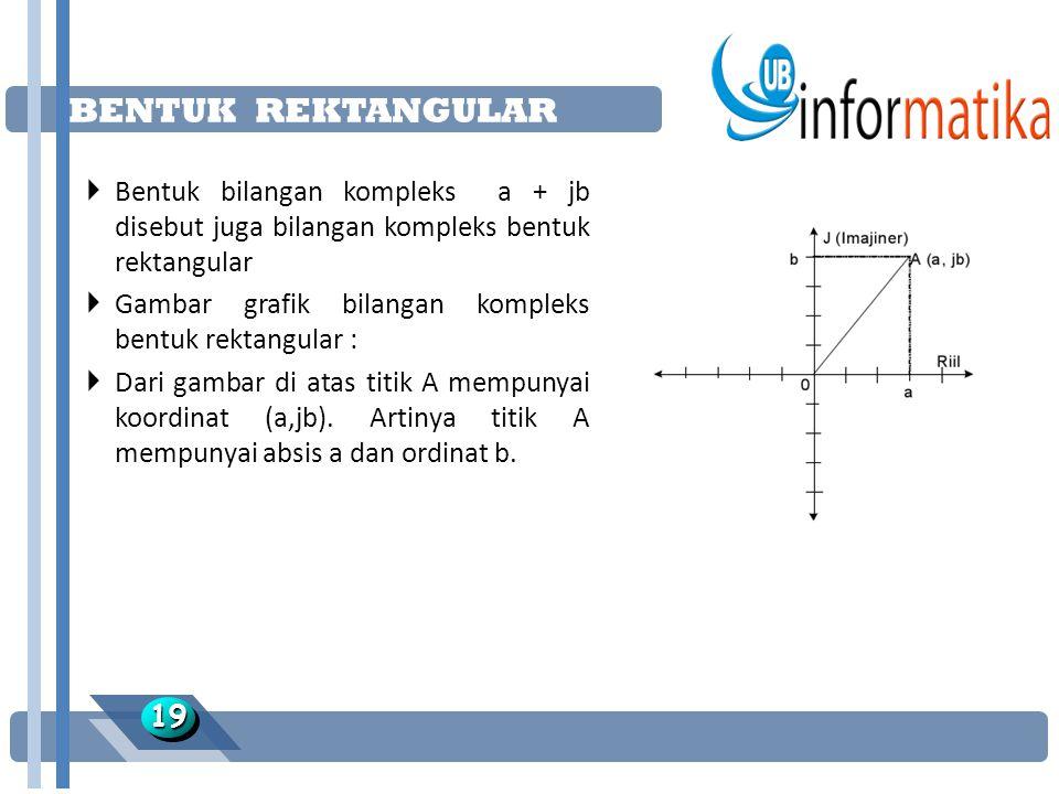 BENTUK REKTANGULAR 1919  Bentuk bilangan kompleks a + jb disebut juga bilangan kompleks bentuk rektangular  Gambar grafik bilangan kompleks bentuk rektangular :  Dari gambar di atas titik A mempunyai koordinat (a,jb).