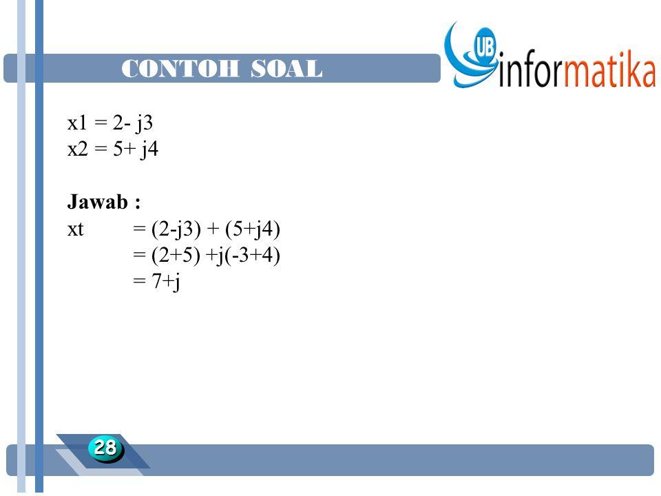 CONTOH SOAL 2828 x1 = 2- j3 x2 = 5+ j4 Jawab : xt = (2-j3) + (5+j4) = (2+5) +j(-3+4) = 7+j