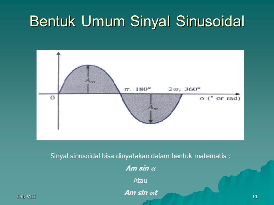 Bab VIII11 Sinyal sinusoidal bisa dinyatakan dalam bentuk matematis : Am sin  Atau Am sin  t Bentuk Umum Sinyal Sinusoidal