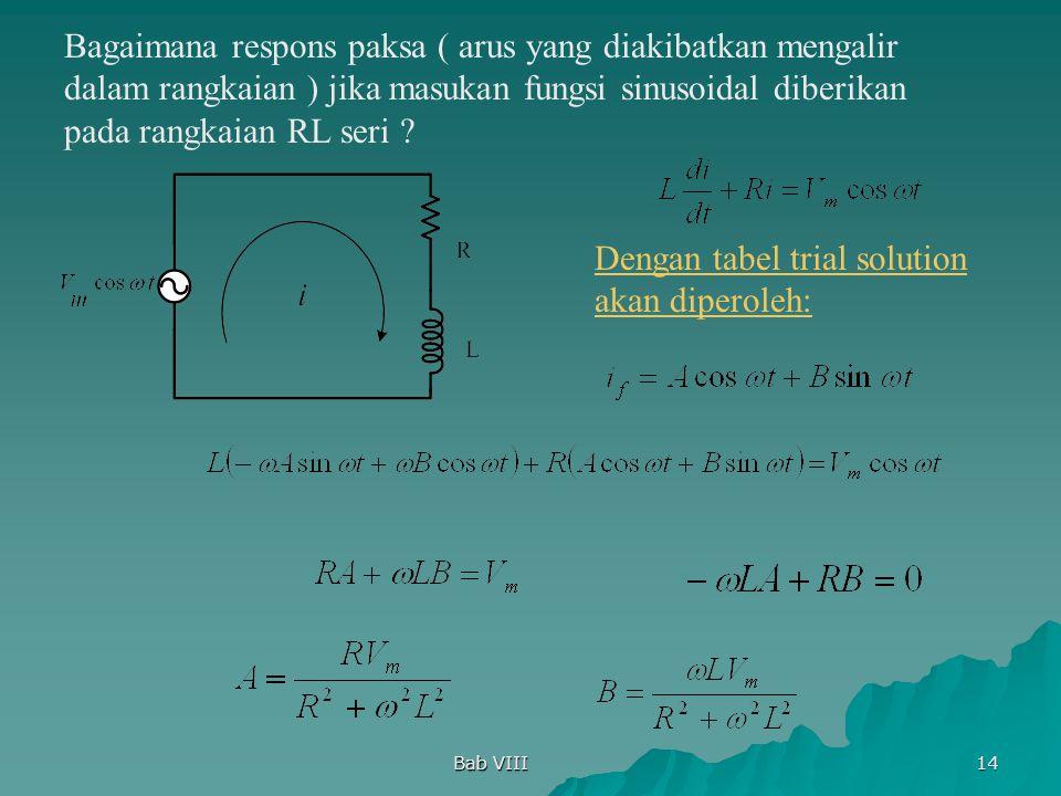 Bab VIII 14 Bagaimana respons paksa ( arus yang diakibatkan mengalir dalam rangkaian ) jika masukan fungsi sinusoidal diberikan pada rangkaian RL seri