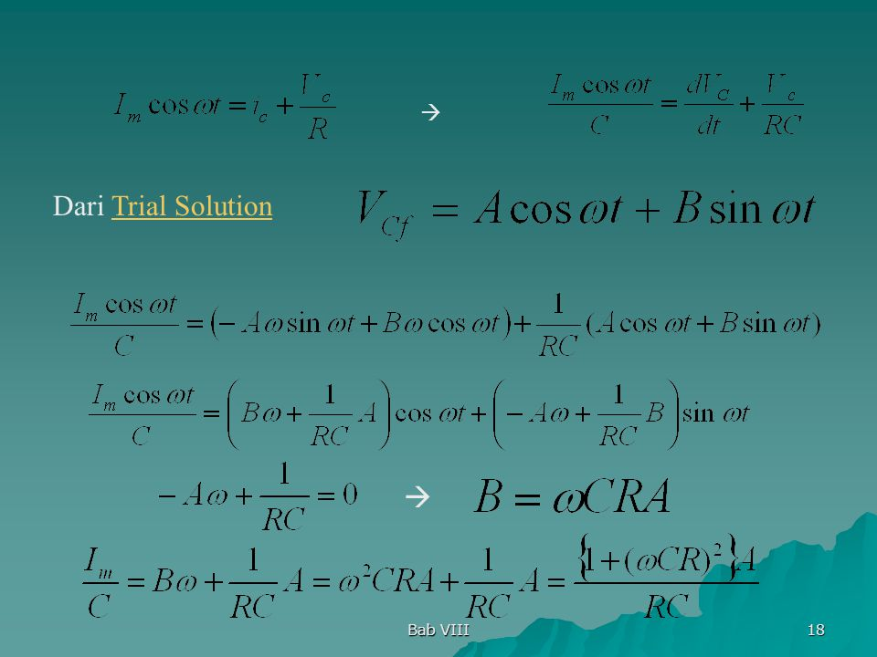 Bab VIII 18 Dari Trial SolutionTrial Solution  