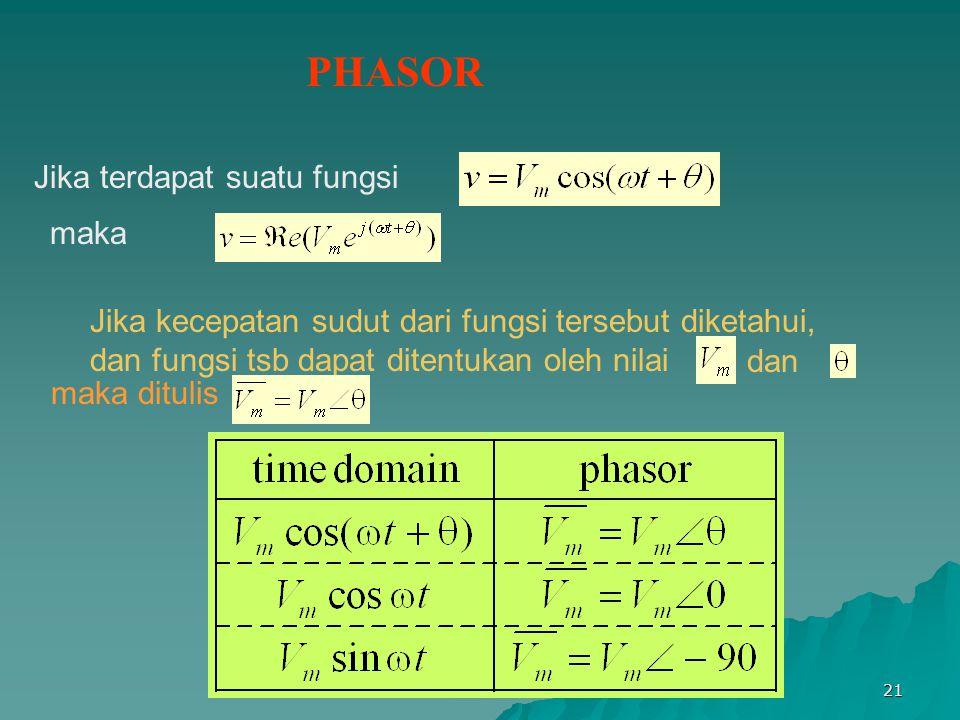 Bab VI 21 PHASOR maka Jika kecepatan sudut dari fungsi tersebut diketahui, dan fungsi tsb dapat ditentukan oleh nilai dan maka ditulis Jika terdapat s