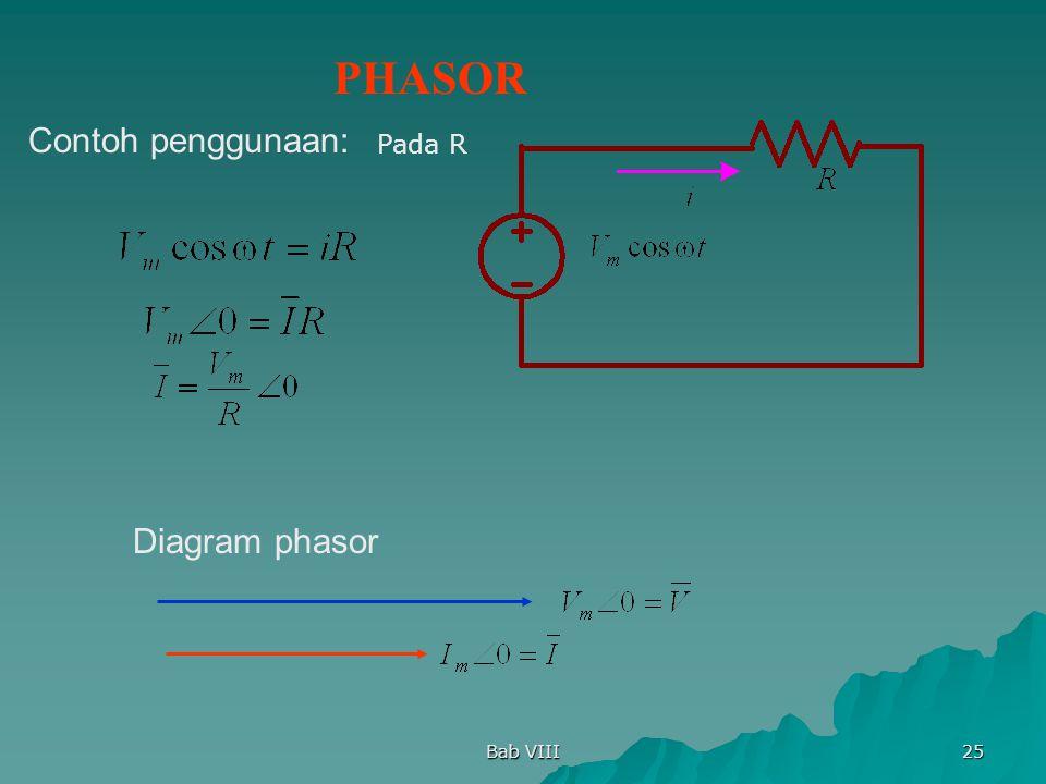 Bab VIII 25 Pada R PHASOR Contoh penggunaan: Diagram phasor