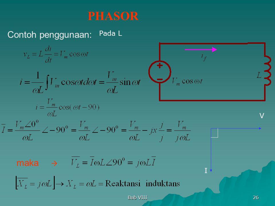 Bab VIII 26 Pada L PHASOR Contoh penggunaan: maka V I 