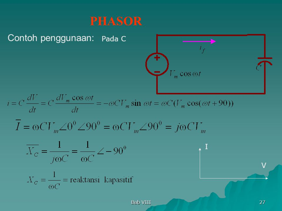 Bab VIII 27 Pada C PHASOR Contoh penggunaan: I V