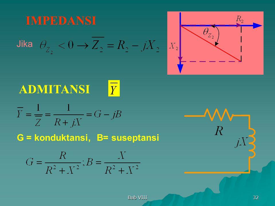 Bab VIII 32 IMPEDANSI Jika ADMITANSI G = konduktansi,B= suseptansi